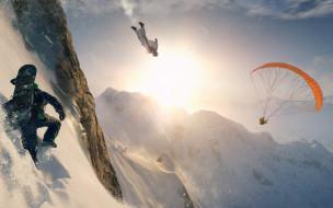 полет, снег, горы