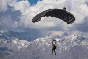 парашют, солдат, армия, горы, небо, приземление