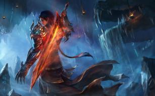 парень, огонь, меч, дракон, светильники