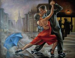 рисованное, люди, зонт, танец, мужчина, женщина