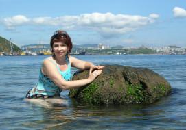 купальник, шатенка, море, поза, девушка