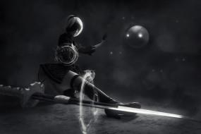 девушка, фон, меч, повязка