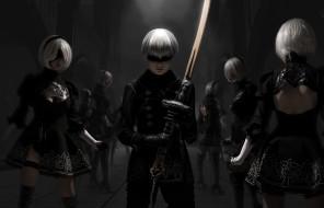 девушки, мужчина, фон, униформа, меч, повязка