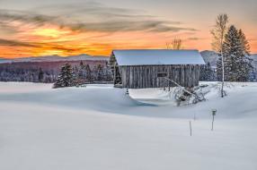дом, закат, зима