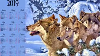 волк, стая, зима, животное, снег