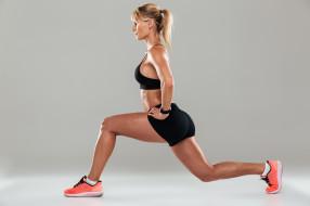 фитнес, девушка, фон, взгляд