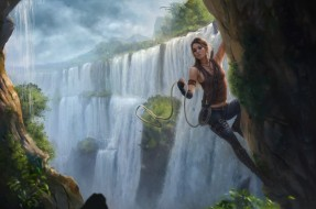 рисованное, люди, скала, водопад, фон, девушка