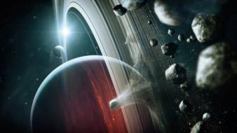 космос, арт, звезды, галактика, планеты, вселенная