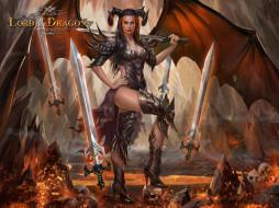 девушка, фон, взгляд, крылья, рога, меч