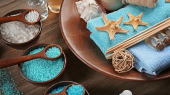 соль, ракушки, спа, морские звезды, тарелка, миски, ложки, масла