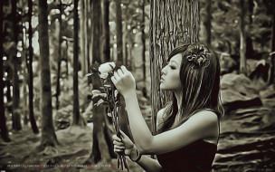 девушка, цветы, лес, букет, дерево