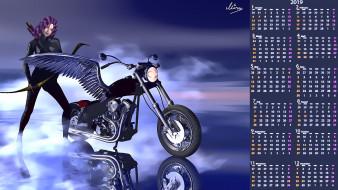 лук, крылья, девушка, мотоцикл