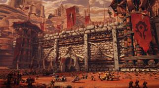 существа, крепость, стена, флаги