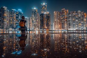 небоскребы, ночь, девочка, город, отражение