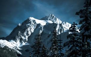 горы, снег, осень