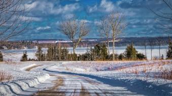 снег, озеро, облака, деревья