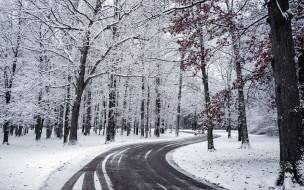 шоссе, зима, снег