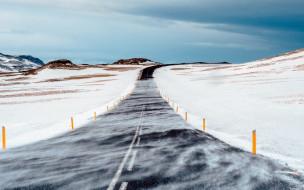 снег, зима, шоссе