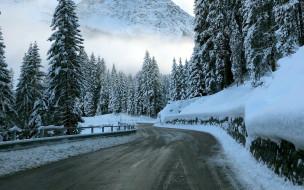 снег, шоссе, зима