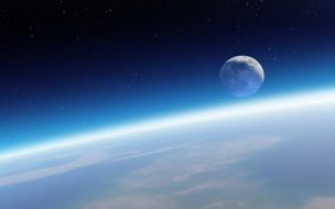 космос, луна, планета, спутник, звёзды, горизонт, земля, орбита