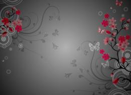 бабочки, цветы, сакура, ветки, круги