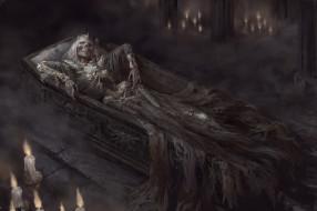 фэнтези, нежить, свеча, гроб, кинжал, фон, скелет