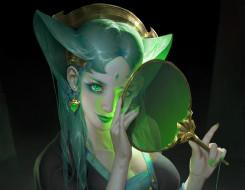 фэнтези, девушки, зеленые, глаза