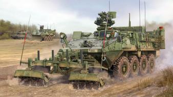 разминирование, военная техника, бтр, рисунок