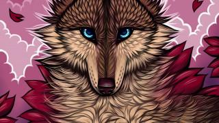 рисованное, животные,  волки, волк