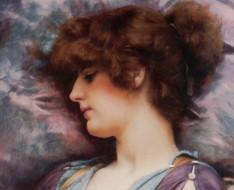 глубокое размышление- john william godward, рисованное, john william godward, профиль, лицо, девушка
