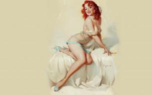 рисованное, arthur saron sarnoff, пеньюар, пин-ап, рыжая, улыбка, девушка