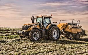 HDR, заготовка сена, сельское хозяйство, урожай, сельскохозяйственное оборудование, желтый, трактор