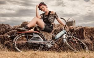 фон, девушка, взгляд, велосипед