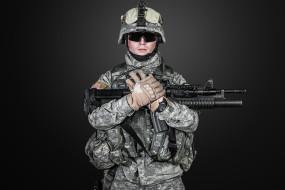 шлем, оружие, перчатки, камуфляж, очки, солдат, автомат