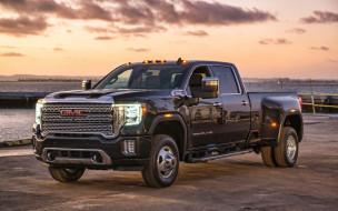 черный, пикап, внедорожники, американские автомобили, 2019 gmc sierra 3500 hd denali, автомобили, фары