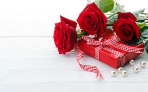праздничные, подарки и коробочки, подарок, розы