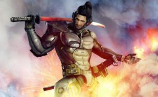 видео игры, metal gear rising,  revengeance, воин, огонь, меч, броня, киборг