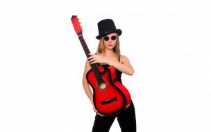 прическа, поза, гитара, девушка, макияж, очки, шляпа, фон, взгляд