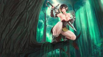 девушка, фон, взгляд, униформа, меч