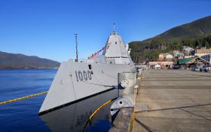 военный корабль, класс zumwalt, вмс сша, американский, ракетный эсминец