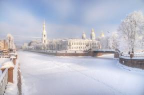 следы, снег, зима, река, мост, город, церковь, здания