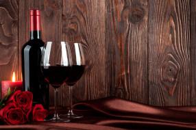 вино, бокалы, розы