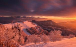 церковь, горы, закат, деревья, Словения, Юлийские Альпы