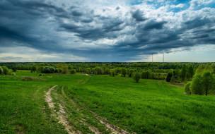природа, пейзажи, луг, дорога, облака