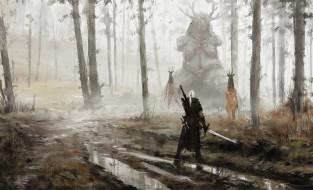 видео игры, the witcher 3,  wild hunt, жрицы, статуя, ведьмак, лес