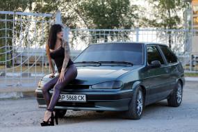 ВАЗ- 2113, автомобиль, ВАЗ, девушка, татуировка, Лада