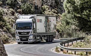 новый, белый, грузоперевозки, доставка груза, шоссе, man tgx, грузовик, грузовик с прицепом