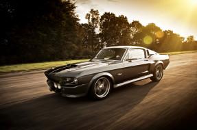 дорога, Ford Mustang, скорость, черный, шоссе, трасса