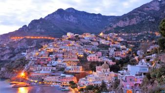 море, гора, италия, позитано, природа, лодка, город, пейзаж