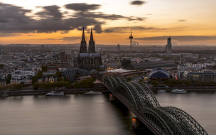 города, кельн , германия, мост, сумерки